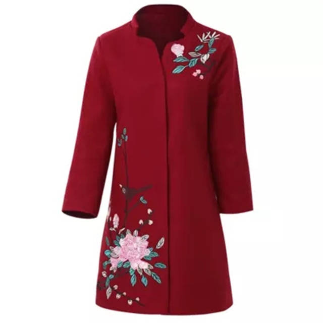 b3b6161cdf6 Online Shop 2018 NEW Fashion Plus Size Winter Jacket Coats Women Vintage Floral  Embroidery Wool Coat Middle aged Autumn Woolen Overcoat L939