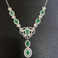 Природный зеленый изумруд Цепочки и ожерелья Природный камень кулон Цепочки и ожерелья 925 серебристые женские Роскошные Модные Корона женщ