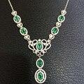 Verde Natural emerald Necklace Gemstone Natural Pingente Colar de 925 mulheres tira Luxo moda Crown mulheres do partido fine Jewelry