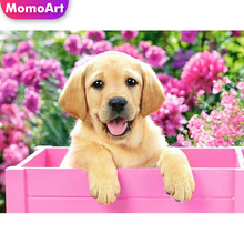 MomoArt Full Drill Diamond Painting Dog Mosaic Animal Square/round Stones Embroidery Home Decoration