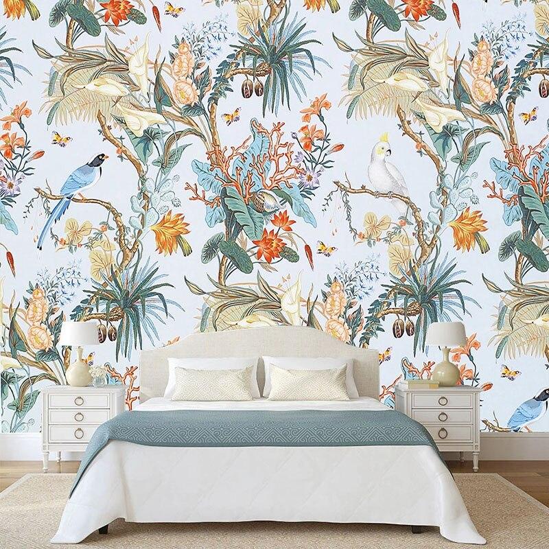 Custom 3D Photo Wallpaper European Style Flower Bird Pastoral Mural Living Room Bedroom Background Wall Decor Painting Wallpaper