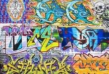 Laeacco Photography Backgrounds Graffiti Colorful Brick Wall Cartoon Figure Pattern Photographic Backdrops For Photo Studio