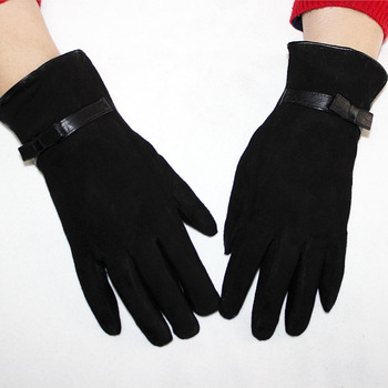 цена на Sheepskin suede gloves women's winter thick warm parrot rabbit fur lining girls black Bow style leather finger gloves