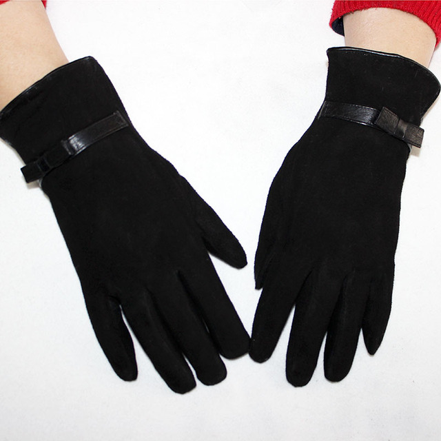43907ad72 Sheepskin suede gloves women's winter thick warm parrot rabbit fur lining  girls black Bow style leather finger gloves