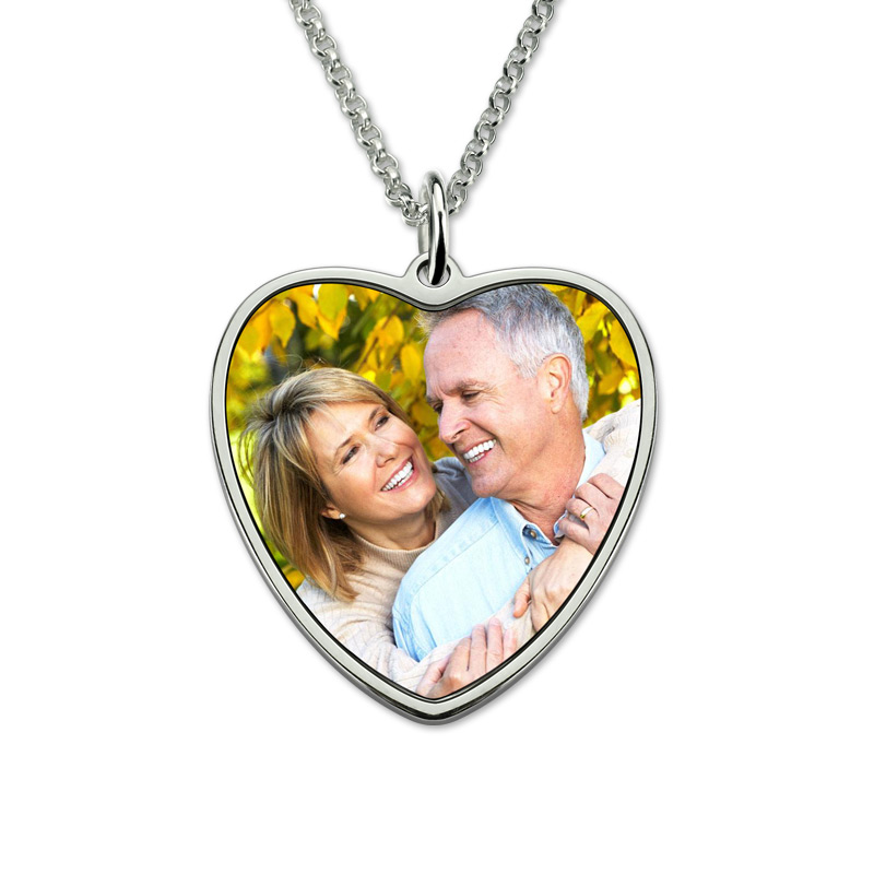 купить AILIN Personalized Heart Color Photo Engraved Necklace Stainless Steel Necklace Memorial Gift for Her недорого