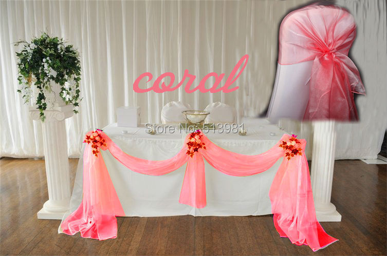 10m135m coral wedding decoration table cloth party chair orangza coral 111 coral junglespirit Images