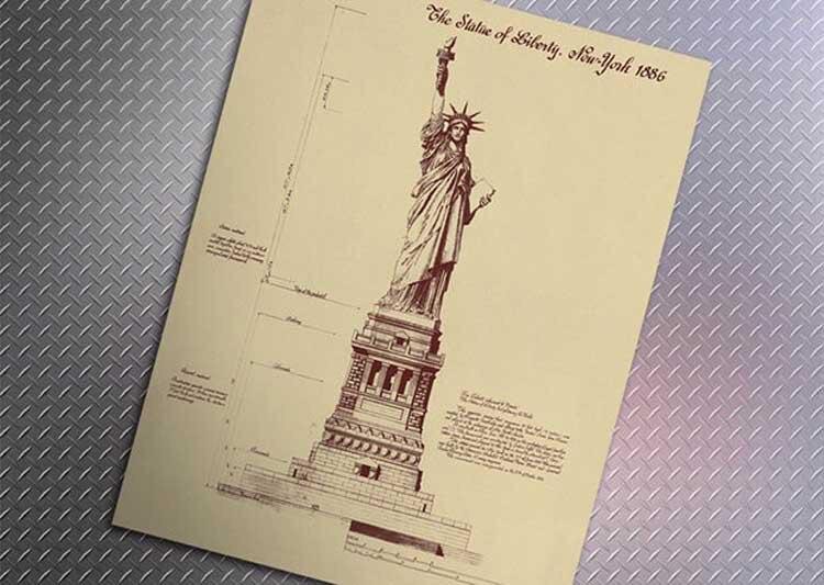 Ontwerp Tekeningen De Vrijheidsbeeld In New York Retro Posters Muur