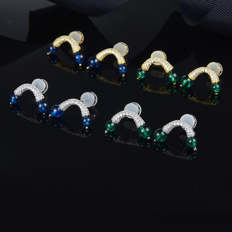 ZOZIRI Double Ball candy Stud Earrings Set For Girls Aros red blue green zircon Shape U earring Sterling Silver Jewelry MONACO rhinestone decorated ball shape stud earrings set