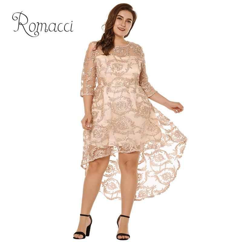 Romacci Sexy Plus Size Party Dress for Women 4XL 5XL Semi-sheer Lace Dress 3 17676223d3eb