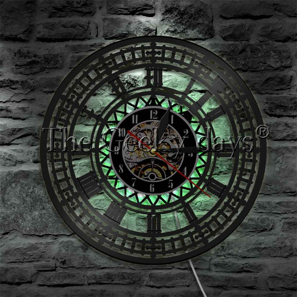 1 Stuk Big Ben Circel Wandlampen Big Ben Klok Led Edge Lit Logo Embleem Licht Londen Led Wandlamp Nachtkastje Wandlamp