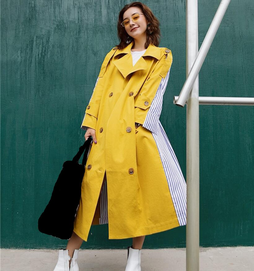 Autumn Lace up Patchwork Striped Windbreaker Coat Turn-down Collar   Trench   Overcoat Women Long Sleeve Casual Clothes