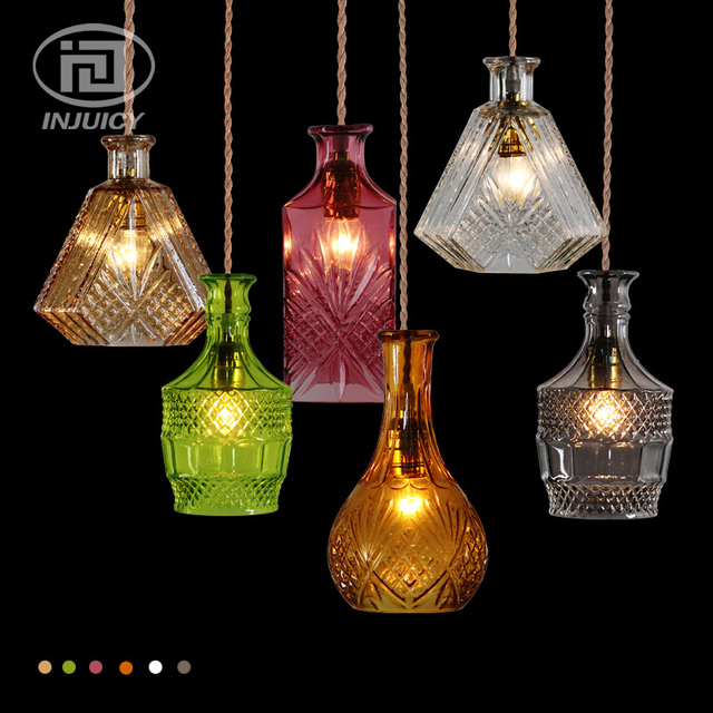 Vintage Style Wine Bottle Pendant Lights Single Head Colourful Gl Hanging Lamps For Cafe Dining