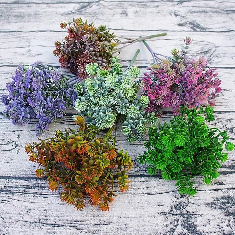 28 Heads Succulents Artificial Plants Fall Fake Leaves Plastic Succulent Plants Lotus Grass For Garden Wedding Decoration