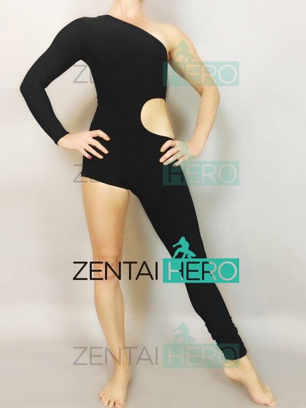 Free Shipping Sexy Women's Black One Shoulder Leg Catsuit Jumpsuit Second Skin Tight Zentai Gymnastics Unitard Leotard Bodysuit