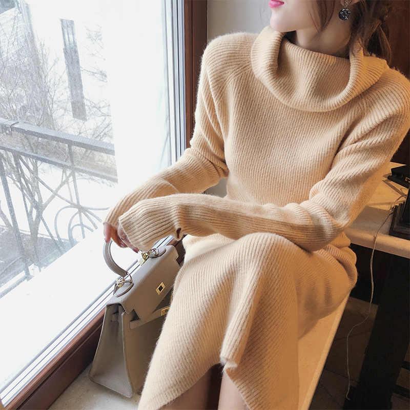 MISHOW herfst winter soild coltrui jurk voor vrouwen 2019 nieuwe causale slim fit lange mouwen Mid-length jurk MX18D5909