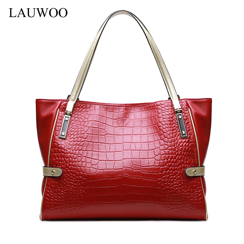 LAUWOO Luxury brand women genuine leather handbag female shoulder bag crocodile prints large capacity ladies tote bags lauwoo fashion women luxury brand handbag female crocodile prints genuine leather shoulder bag lady elegant tassels tote bags