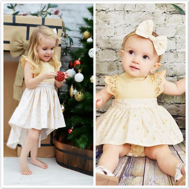 sister family matching christmas dress romper outfits christmas kids baby girls xmas lace romper dress party
