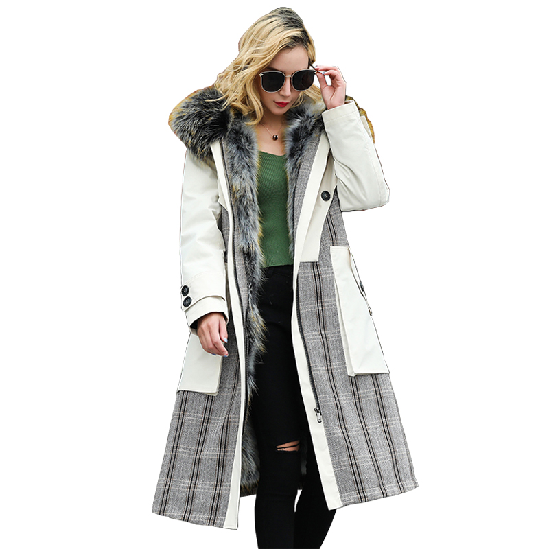 Winter Real Raccoon Fur Collar Hooded Coat Women Clothes Korean Vintage Raccoon Fur Liner Jacket Long Parka Chaqueta Mujer ZL729