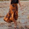 Jastie 2017 saias de verão das mulheres do vintage floral impressão saia longa Gypsy Boho Chic Sereia Hem Maxi Saia Saia Faldas Mujer Longa