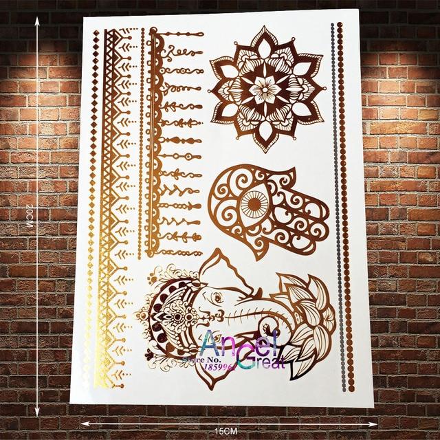 1PC Indian Gold Tattoo Hamsa Hand Eye Elephant Ganesha Sun Flower Tatoo Flash Lace Henna Temporary Tattoo Sticker AYS98