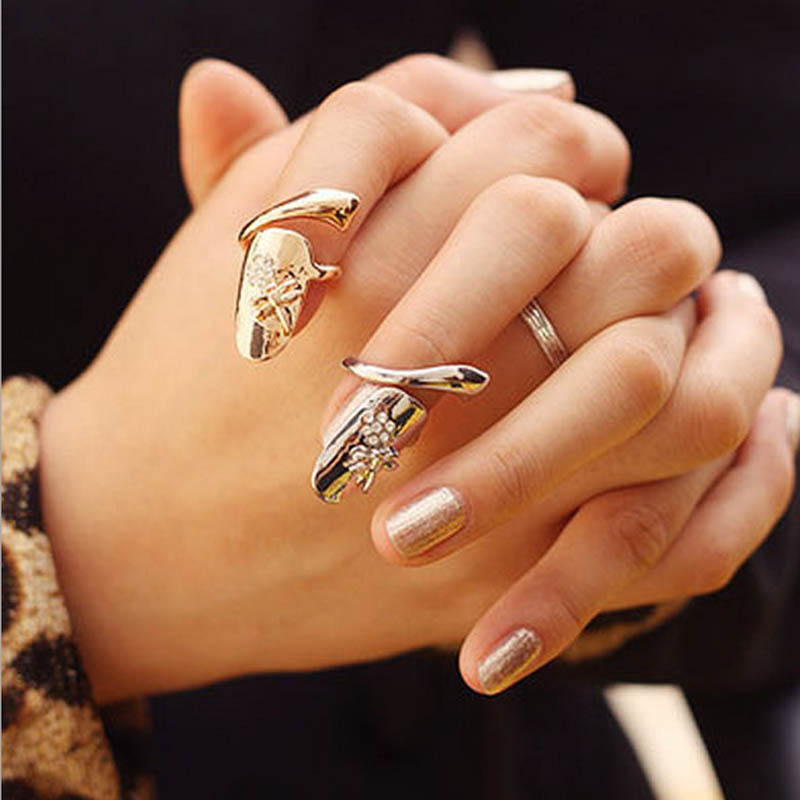 Fashion Punk Finger Nails Ring Summer Style Gold Silver Plated With Rhinestone Dragonfly Women Fine Jewelry