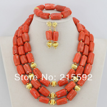 2014 New Fashion Wedding Jewelry Sets For Brides Nigerian Wedding African Beads Jewelry Set Coral Beads Necklace Set CJ093