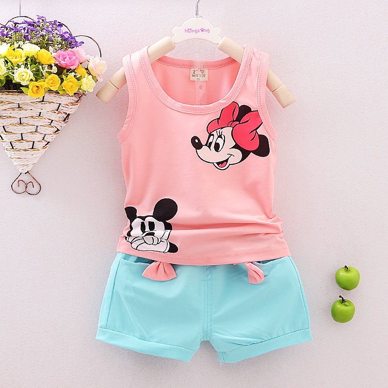 New Arrival Summer style 2PCS Toddler Kids Baby Girls Outfits Children Sets Sleeveless shirt Tops + Shorts Clothes Set