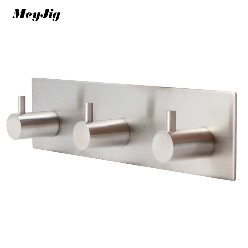 Kitchen Bathroom Rustproof Towel Hooks 3M Sticker Adhesive Stainless Steel Hooks Organizer Wall Door Clothes Coat Hat Hanger