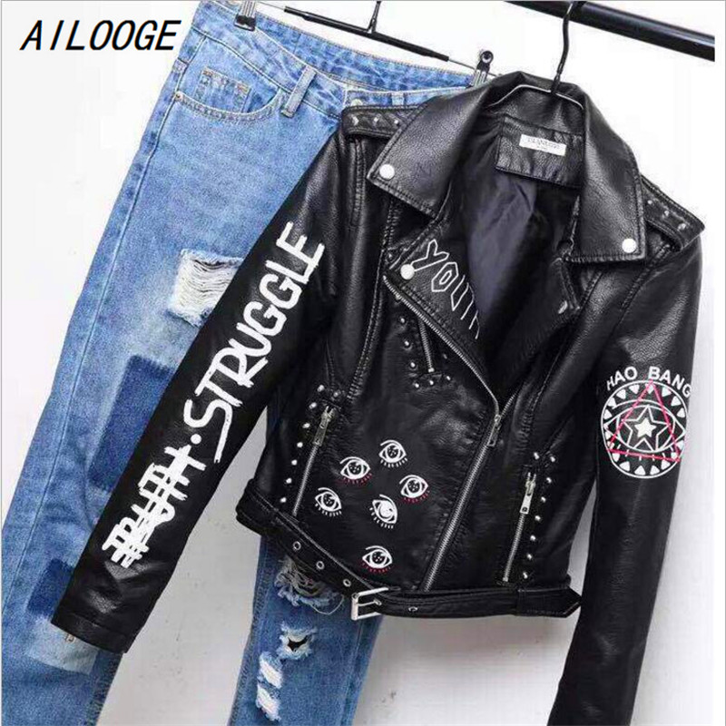 AILOOGE Printed Letters Rivet   Leather   Jacket Women Punk Moto Coat Black Faux Jacket jaquetas couro Casaco chaquetas Belt Jacket