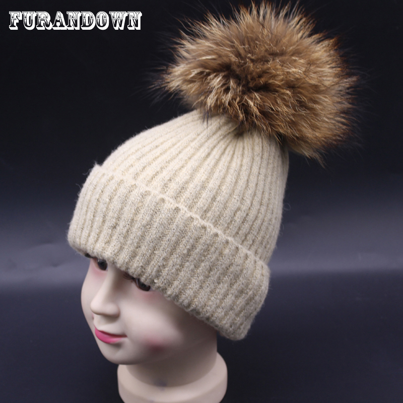 2017 Kids Winter Real Raccoon Fur Hats Girls Boys Wool Stripe Knit - Apparel Accessories