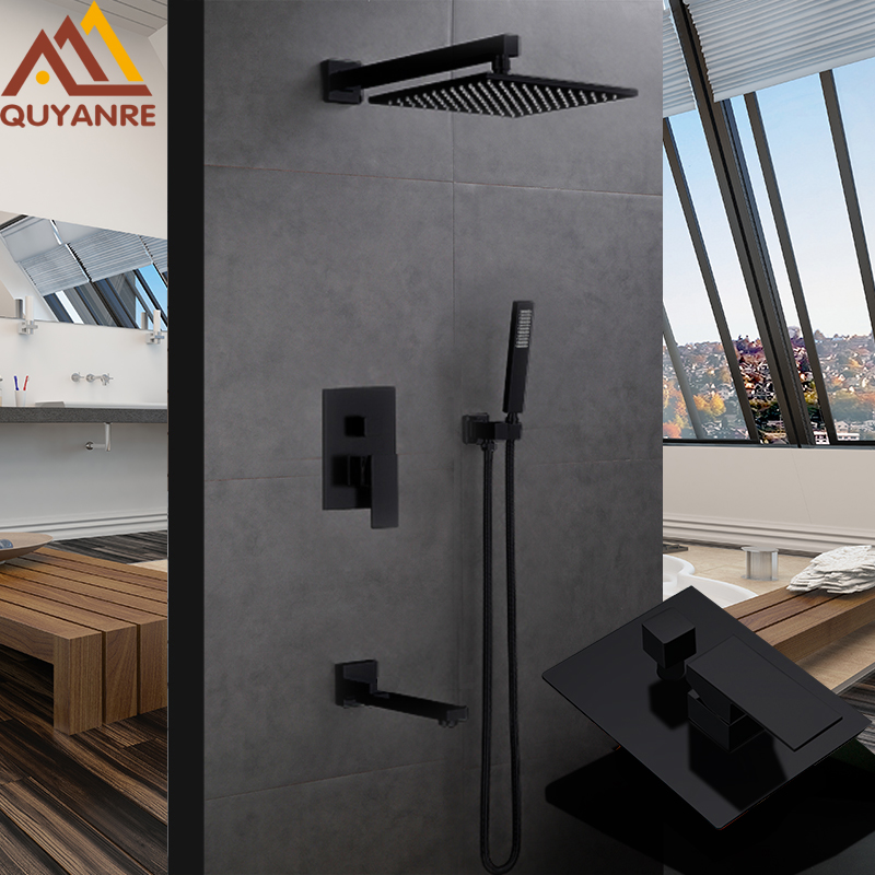 Quyanre RU Shipping Black Concealed Shower Faucets Set 12 Brass Rainfall Shower Head Single Handle Mixer Tap Bathroom Shower
