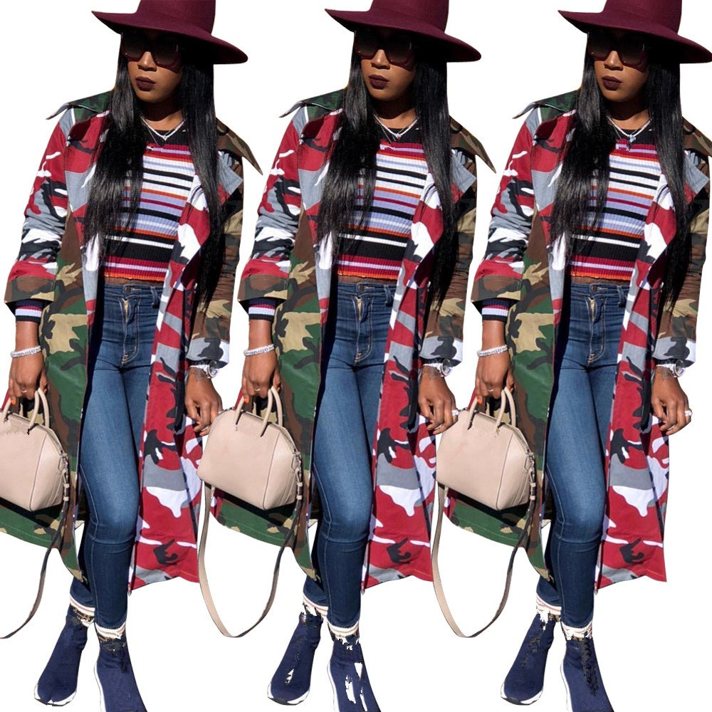 Women Camouflage Patchwork Large Size Coat Fashion Pockets Sashes Long   Trench   Coats Loose Casual Windbreaker