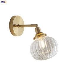 IWHD Nordic szklana kula kinkiet lustro łazienkowe sypialnia obok miedzi nowoczesna lampa ścienna kinkiet LED Wandlamp oświetlenie domu w Wewnętrzne kinkiety LED od Lampy i oświetlenie na
