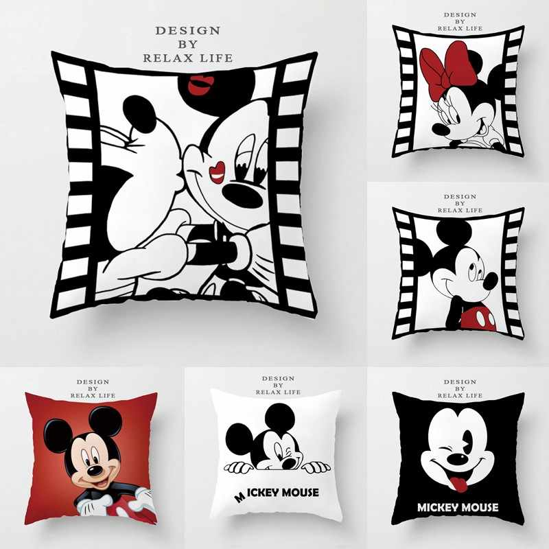 Disney Black and Cream Red Mickey Minnie Mouse Cushion Cover Sofa Decorative Pillowcases for Bed Couch 45x45cm no Filling