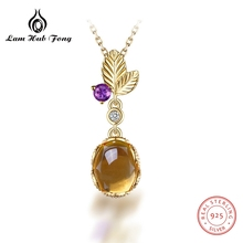 все цены на Oval Natural Citrine Gemstone Chain Necklaces & pendants 925 Sterling Silver For Women Birthstone Luxury Fine Jewelry Gift онлайн