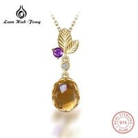 Oval Natural Citrine Gemstone Chain Necklaces & pendants 925 Sterling Silver For Women Birthstone Luxury Fine Jewelry Gift