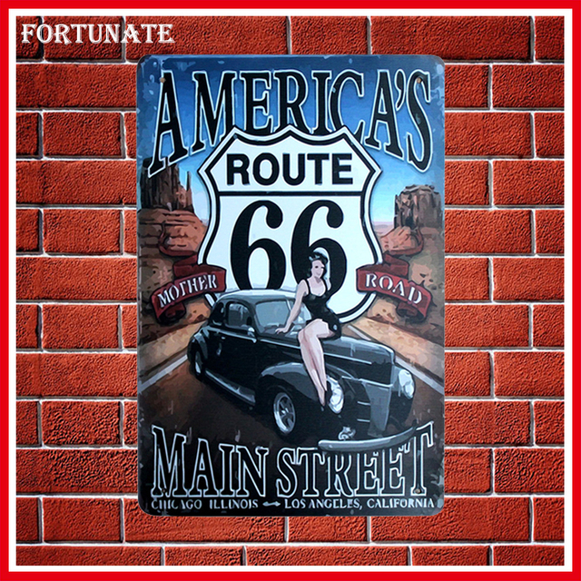 Hot Americau0027s 66 Man Street Sign Metal Signs Home Decor Vintage Tin Signs  Pub Vintage Decorative