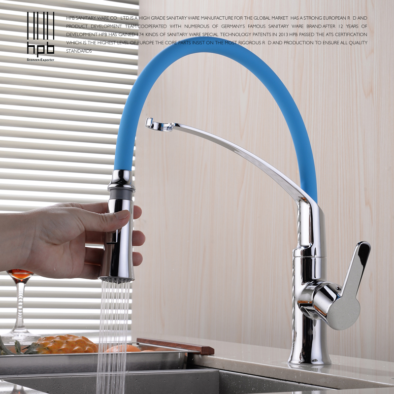 HPB Polished Chrome Flexible Pull Out Kitchen Faucet Sink Mixer Tap Single Handle Hot Cold Water Taps 360 Degree Rotation HP4A19 polished chrome pull out kitchen sink faucet single handle hot