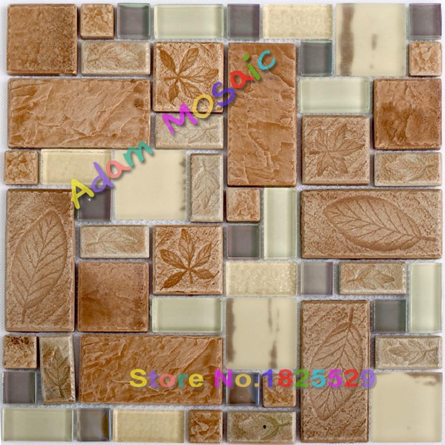 Beige glss tile kitchen brown tiles backsplash leaf pattern vintage ceramic wall mosaic tile for Patterned bathroom wall tiles