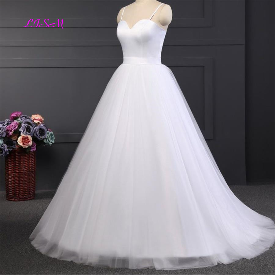 Simple A-Line Spaghetti Straps Tulle Bridal Gowns Sweetheart Empire Long Beach Wedding Dresses vestido de noiva 2019 robe mariee