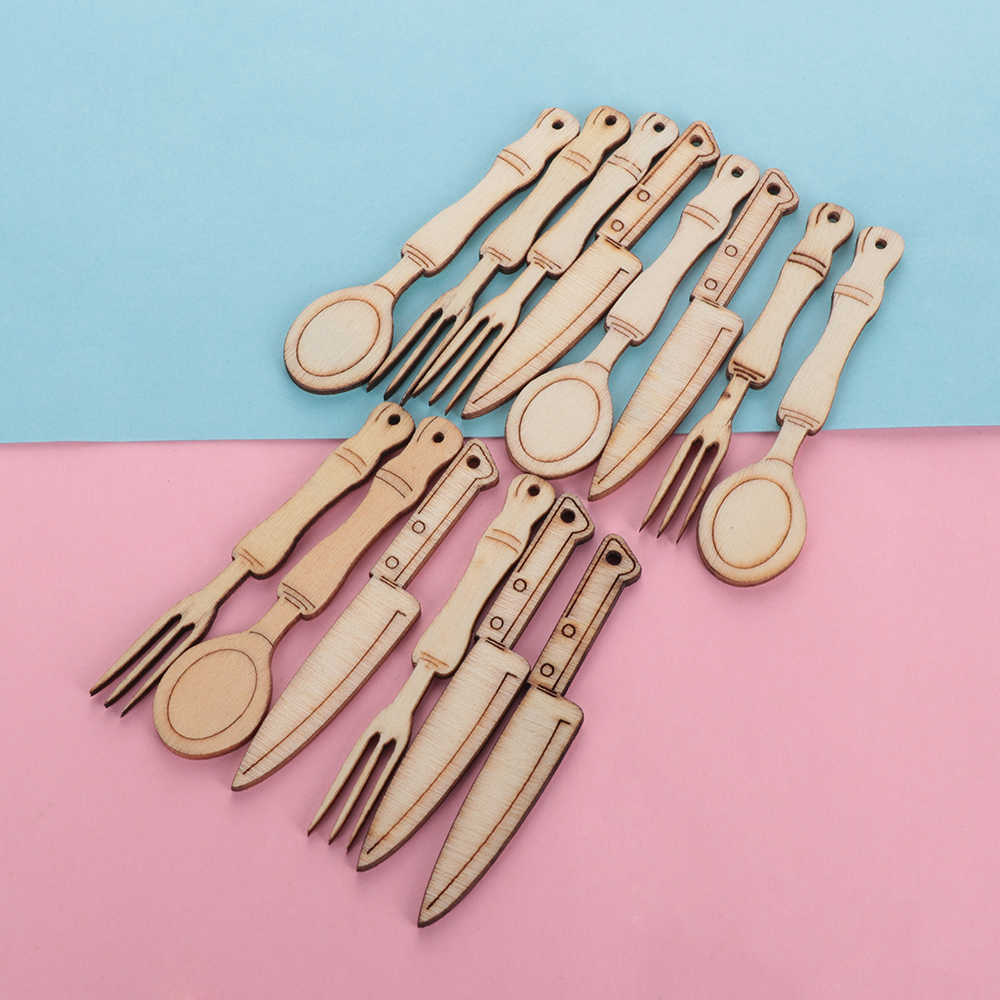 12Pcs/Set New DIY Wooden Knife Fork Scrapbooking Embellishments Handmade Ornaments Home Decoration Crafts Supplies