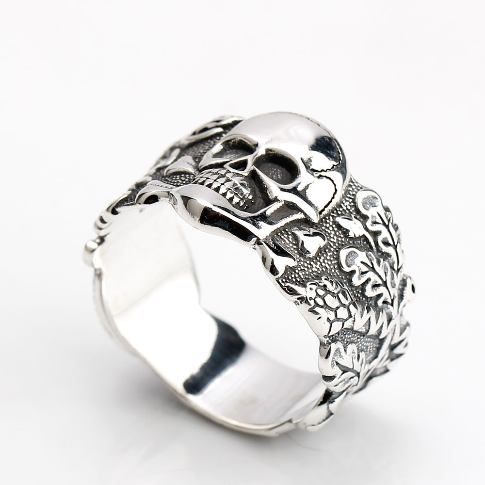 925 Sterling Silver Skull Men Ring Walking Evil Silver Cool Vintage Punk Style Ring for Men Fashion Jewelry