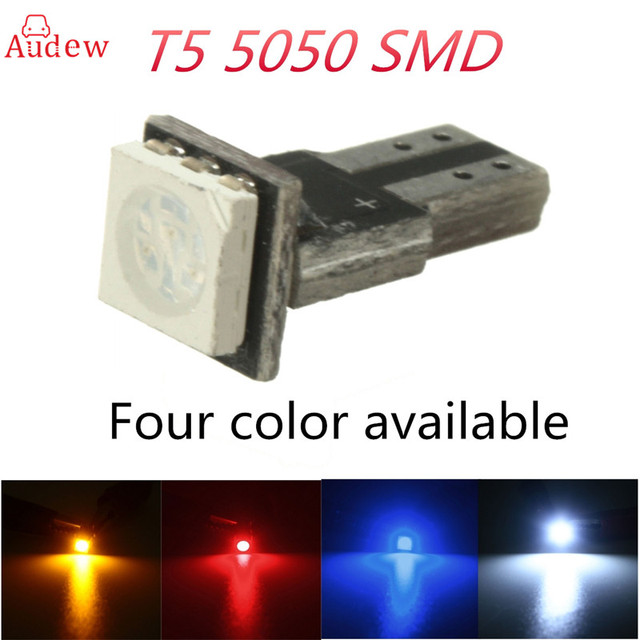 10Pc T5 LED Car Auto LED 5050 286 SMD Gauge LED Wedge Light Bulb Lamp Dash Board Instrument White Blue Red Yellow