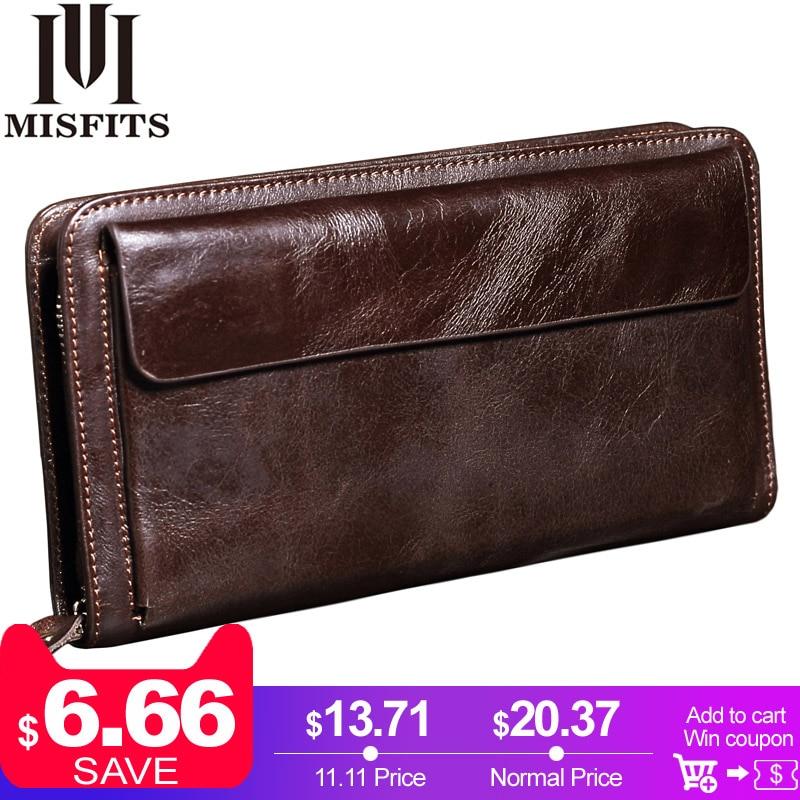 купить MISFITS NEW Men Wallet Genuine Leather Brand Vintage Organizer Wallets Male Clutch Bag Zipper Coin Purse Cell Phone Long Purse по цене 1322.79 рублей
