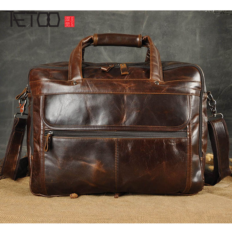 AETOO The first layer of oil wax leather leather foreign trade Europe and the United States retro men 16 - inch business portabl europe and the united states style first layer of leather lychee handbag fashion retro large capacity solid business travel bus