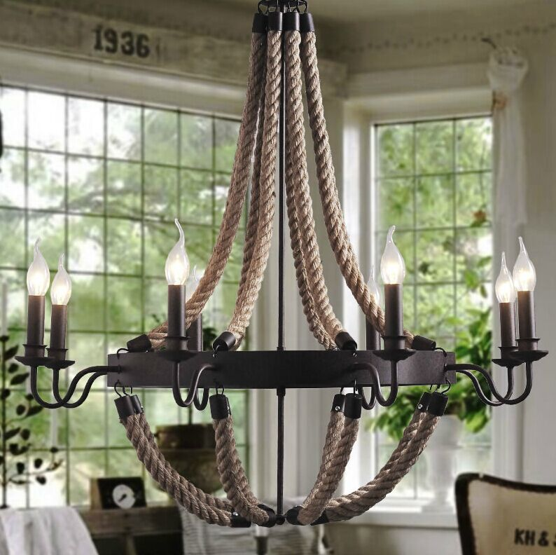 American Rural Countryside Rope Vintage Wrought Iron Chandelier Creative Dining Room Old Coffee Bar
