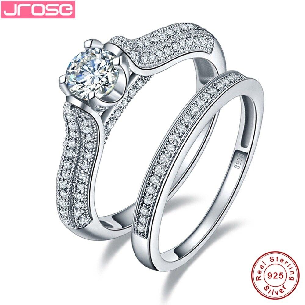 Jrose 100% 925 en argent Sterling de fiançailles de mariage blanc zircon cubique bijoux pour femmes anneaux ensembles taille 6 7 8 9 cadeaux de gros