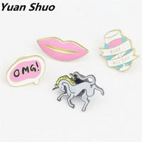 Japanese cartoon pins of soft sister younger sister drop glaze brooch elegant girl Enamel horse lips pink clothing fitting
