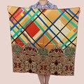 [15% OFF] Corona y Corrector 90 cm Elegante abrigo de Las Mujeres de seda Pura Bufanda de Seda Cuadrada grande, satén de crepe de seda liso cuadrados bufandas
