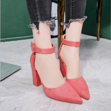 Sandalias femeninas high heels Autumn Flock pointed sandals sexy female summer shoes Female mujer